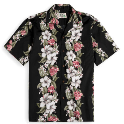 KYS303 Kahanu Garden Black 100% cotton, 100% genuine Hawaiian Shirt