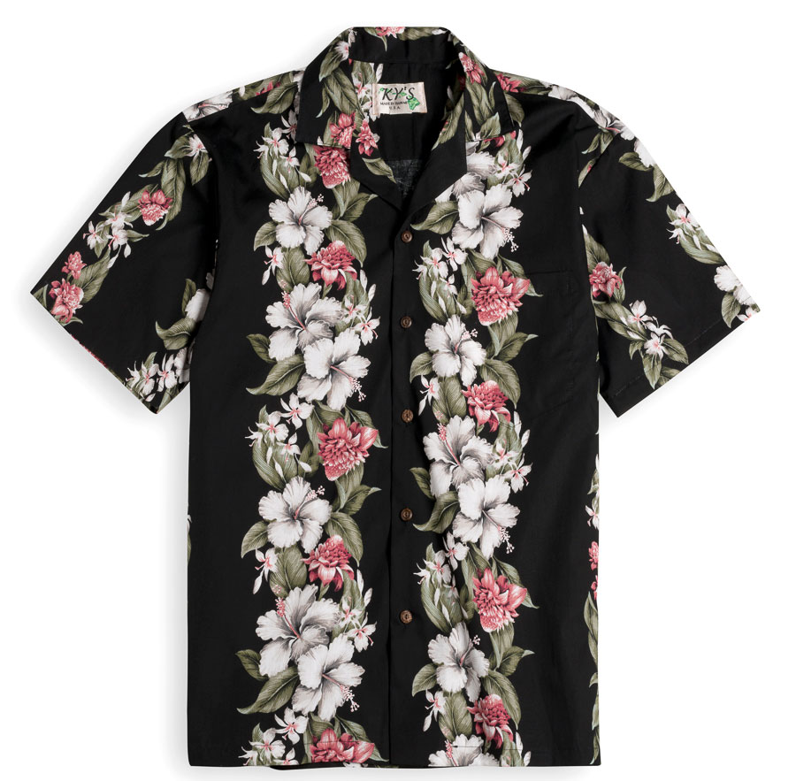 Kahana Garden black Mens Hawiian Shirt 100% cotton