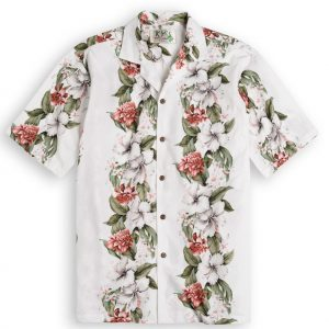 Kahana Garden white Mens Hawiian Shirt 100% cotton