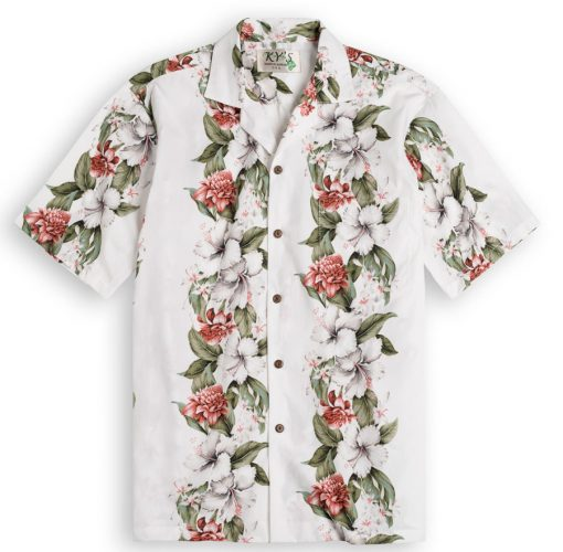 KYS304 Kahanu Garden White 100% cotton, 100% genuine Hawaiian Shirt