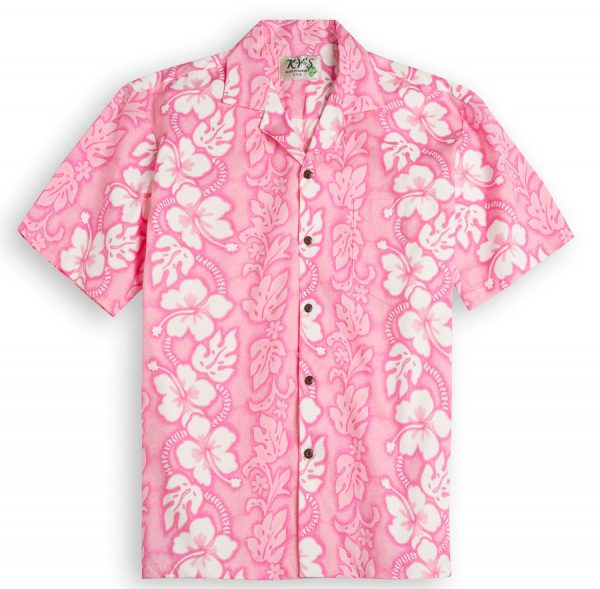Blushing Hibiscus Mens Hawiian Shirt 100% cotton