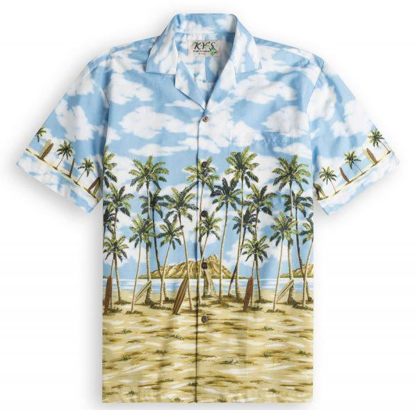 Long Board Bay Mens Hawiian Shirt 100% cotton