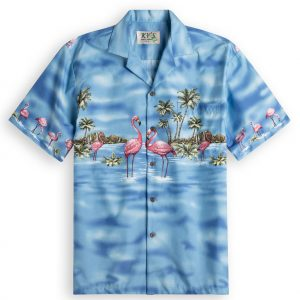 Flamingo Lagoon Mens Hawiian Shirt 100% cotton