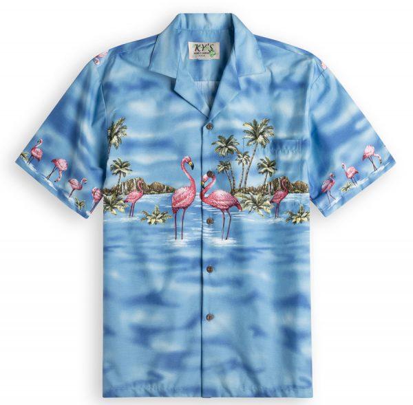 Flamingo Lagoon Mens Hawiian Shirt 100% cotton