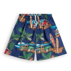 Surf Woody Mens Hawaiian Shorts, elasticated waist & drawstring