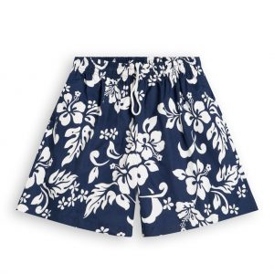 Blue Hibiscus Mens Hawaiian Shorts, elasticated waist & drawstring