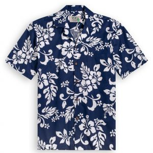 Navy Hibiscus Hawaiian Shirt at The Hawaiian Shirt Shop, UK