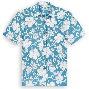 TPS502 Pineapple Pareau Blue Reverse Print Hawaiian Shirts