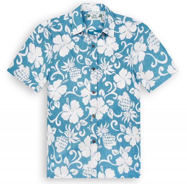 TPS502 Pineapple Pareau Blue Reverse Print Hawaiian Shirts