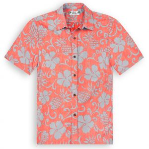 TPS503 Pineapple Pareau Reverse Print Hawaiian Shirts