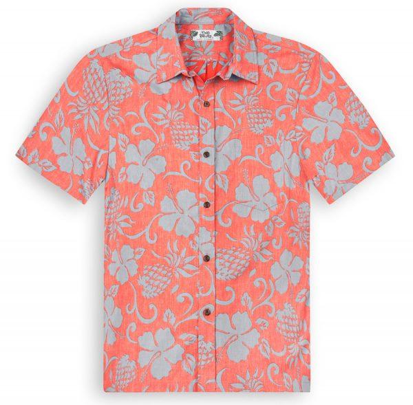 TPS503 Pineapple Pareau Reverse Print Hawaiian Shirts