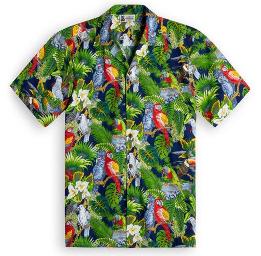 Parrot Legend Navy Hawaiian Shirts at The Hawaiian Shirt Shop, UK