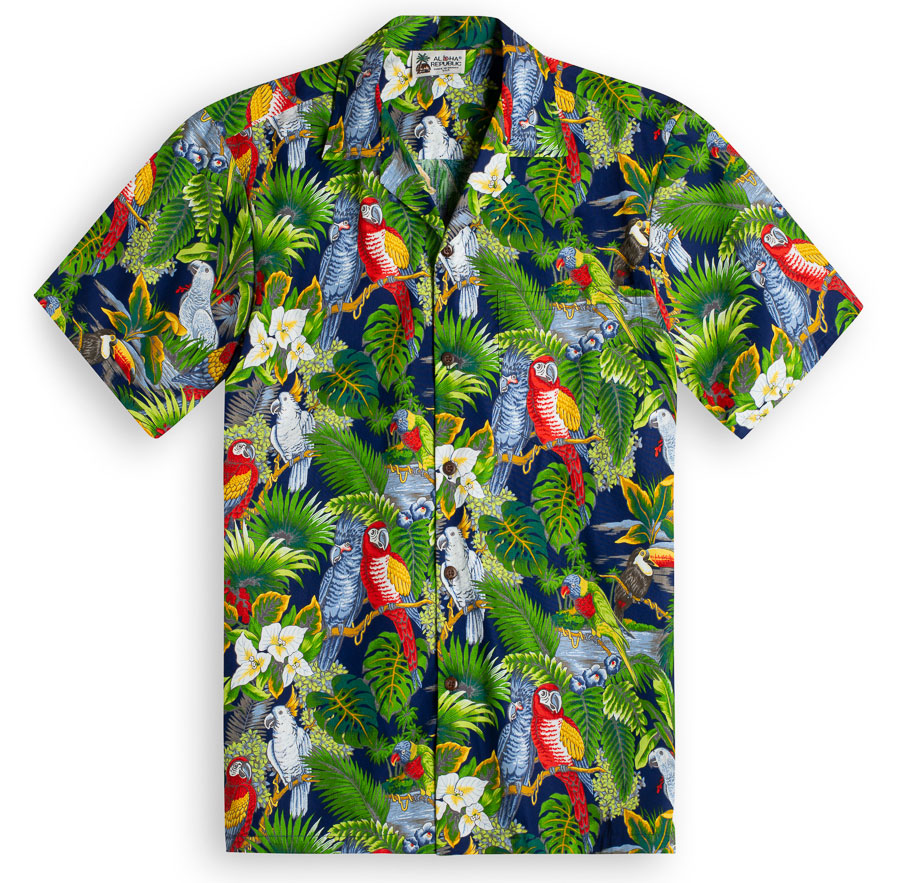 63a871a4 Parrot Legend Navy Hawaiian Shirts at The Hawaiian Shirt Shop, UK