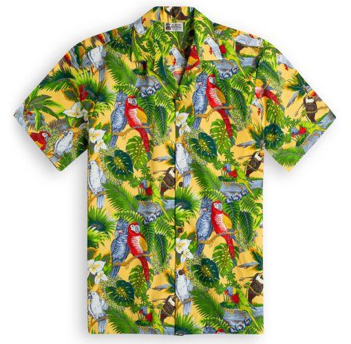 Parrot Legend Yellow Hawaiian Shirts at The Hawaiian Shirt Shop, UK