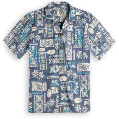 KYS319 Traditional Tapa Blue Hawaiian Shirt