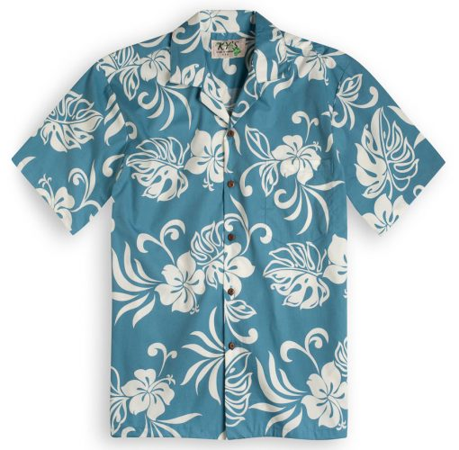 San Souci Beach (blue) Hawaiian Shirts at The Hawaiian Shirt Shop, UK