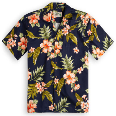 6c9ca490 £44.99 · Hibiscus Garden (navy blue) Hawaiian Shirts at The Hawaiian Shirt  Shop, UK