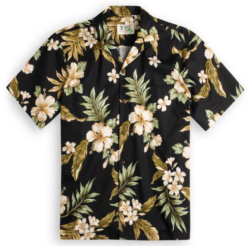 Hibiscus Garden (black) Hawaiian Shirts at The Hawaiian Shirt Shop, UK