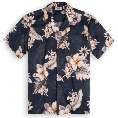 Midnight Garden (midnight blue) Hawaiian Shirts at The Hawaiian Shirt Shop, UK