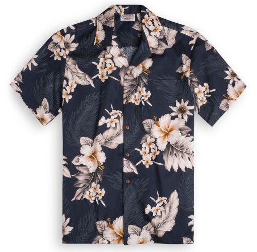 Midnight Garden (midnight blue) Hawaiian Shirts at The Hawaiian Shirt Shop, UK