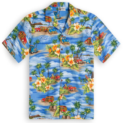 Classic Woody (blue) Hawaiian Shirts at The Hawaiian Shirt Shop, UK