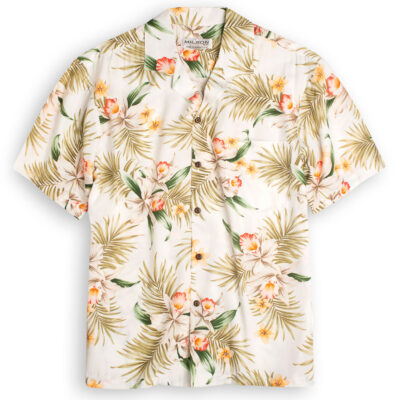 Orchid Garden (white) Hawaiian Shirts at The Hawaiian Shirt Shop, UK