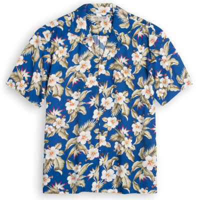 Aloha Hibiscus blue Hawaiian Shirts at The Hawaiian Shirt Shop, UK