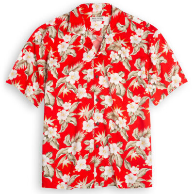 Aloha Hibiscus red Hawaiian Shirts at The Hawaiian Shirt Shop, UK