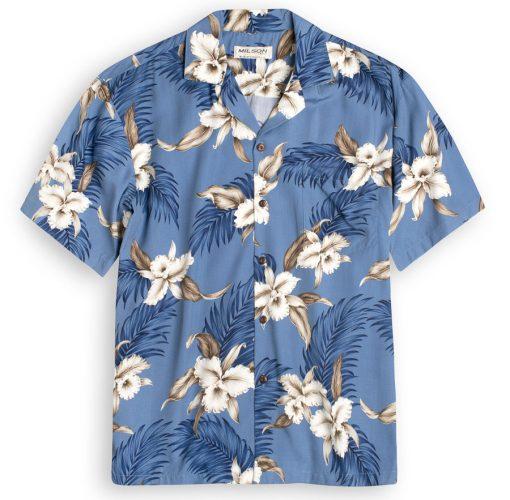 KYS505 Wild Orchids Blue Hawaiian Shirt