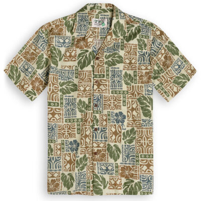 KYS323 Mystical Tapa green Hawaiian Shirt