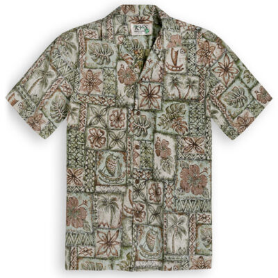 KYS324 Vintage Outrigger green Hawaiian Shirt
