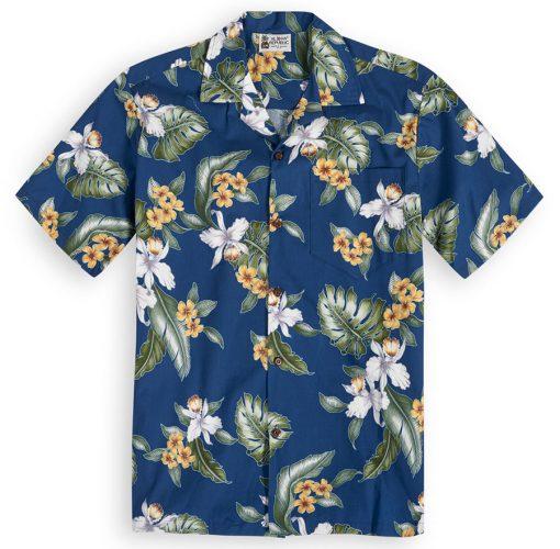 Paradise Garden (navy) Hawaiian Shirts at The Hawaiian Shirt Shop, UK