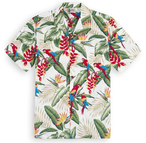 Macaws of the Tropics (white) Hawaiian Shirts at The Hawaiian Shirt Shop, UK