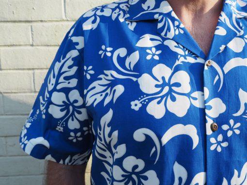 Hibiscus Royale (Blue) Hawaiian Shirts at The Hawaiian Shirt Shop, UK