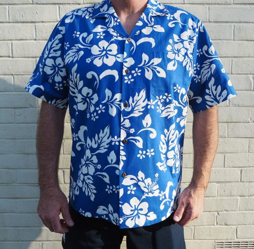 Hibiscus Royale (Blue) Hawaiian Shirts at The Hawaiian Shirt Shop, UK