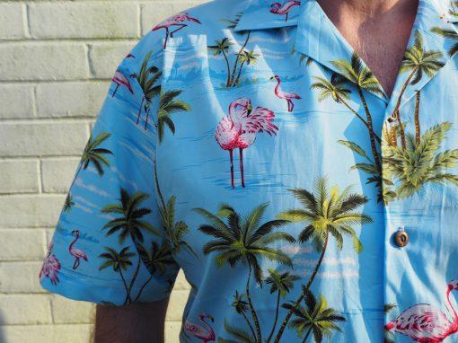 Flamingo Island (Blue) Hawaiian Shirts at The Hawaiian Shirt Shop, UK