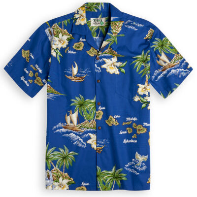 Island Outrigger (Blue) Hawaiian Shirts at The Hawaiian Shirt Shop, UK