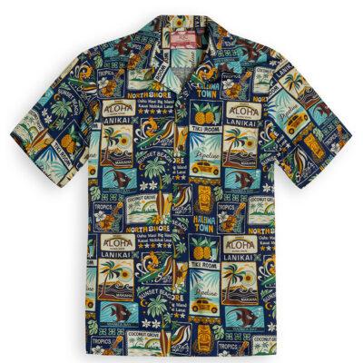 Tiki Room navy Hawaiian Shirts at The Hawaiian Shirt Shop, UK