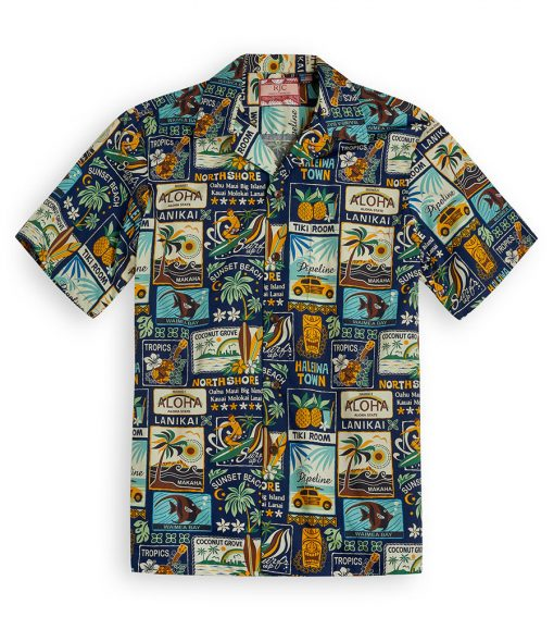 Tiki Room navy Hawaiian Shirts at The Hawaiian Shirt Shop, UK