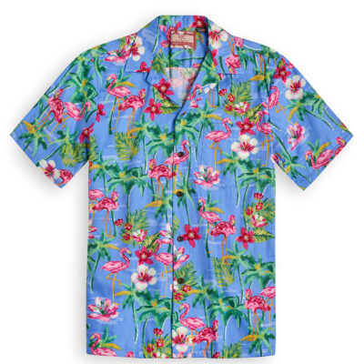 RJC602 Flamingo Royale Blue from the Hawaiian Shirt Shop UK
