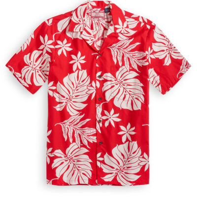 RJC610 Tropical Palm Red at the Hawiian Shirt Shop UK