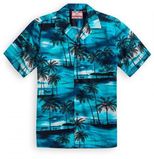 RJC612 Sunset Beach blue Hawaiian Shirt