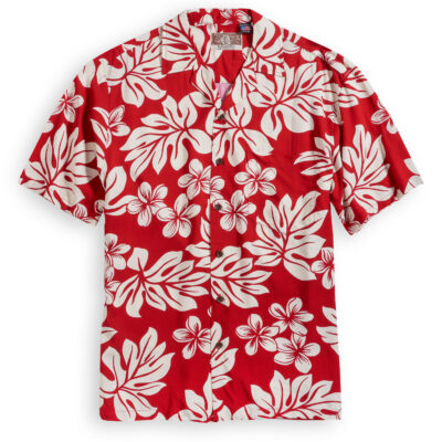 RJC703 Plumeria Red Hawaiian Shirt