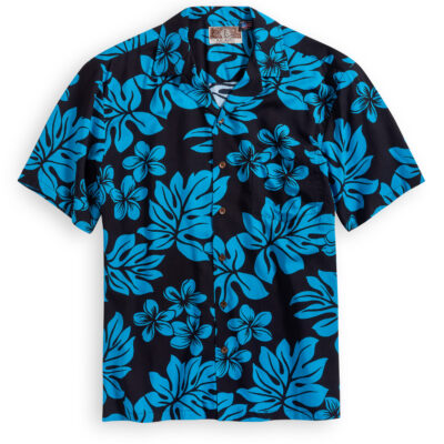 RJC704 Plumeria Black Hawaiian Shirt