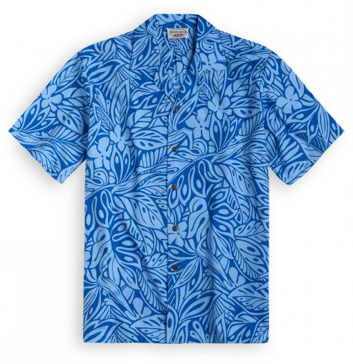 PLS258 Blue Monstera Hawaiian Shirt