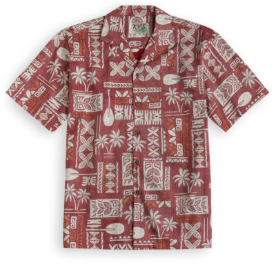 KYS333 Traditional Tapa Red Hawaiian Shirt