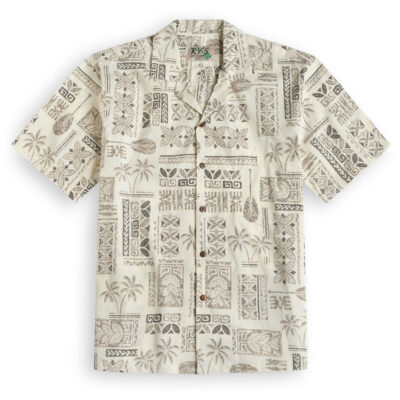 KYS334 Traditional Tapa Cream Hawaiian Shirt