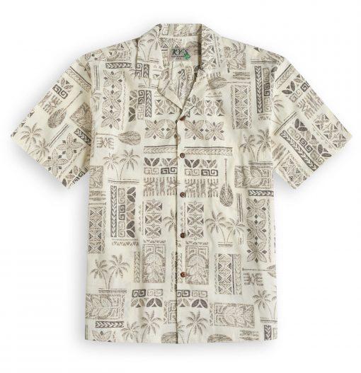 KYS334 Traditional Tapa Cream Hawaiian Shirt