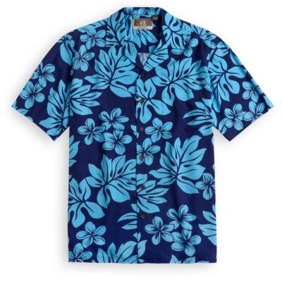 RJC710 Plumeria Navy Hawaiian Shirt